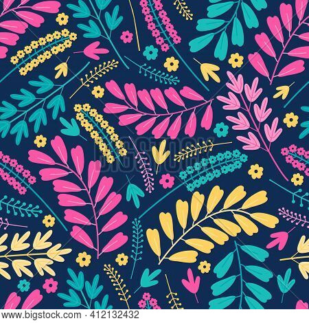Blooming Midsummer Meadow Seamless Pattern. Floral Design Of Bright Colorful Pink And Yellow Flowers