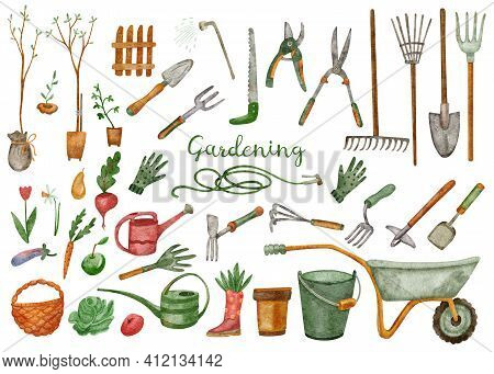 Big Set With Gardening Farming Tools. Watercolor Illustration Of Watering Can, Hoe, Bucket, Hose, Pi