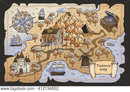 Hand Drawn Treasure Map From Pirate Fantasy Adventure. Cartoon Island