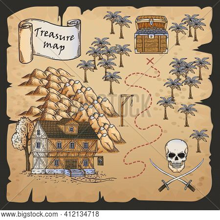 Treasure Map Of Pirates Island With Burned Edges Hand Drawn Vector Illustration.