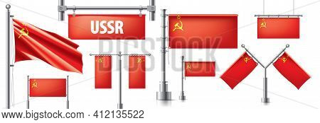 Vector Set Of The National Flag Of Ussr In Various Creative Designs
