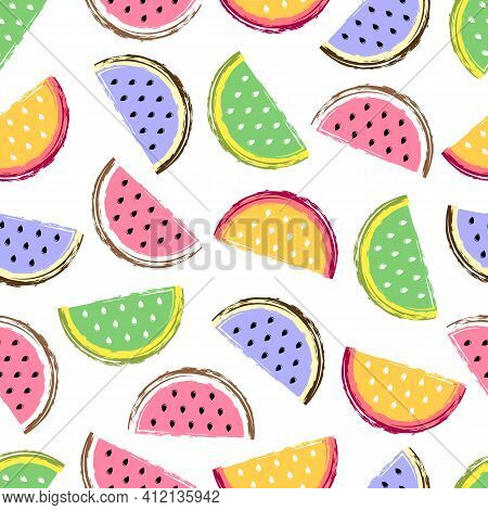 Watermelon Seamless Pattern. Fruit And Berry Seamless Watermelon Background. Juicy Cute Pattern. Vec