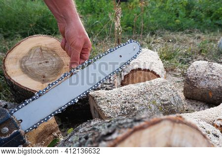Checking And Adjusting The Chain Tension Of The Chain Saw. A Worker Checks The Tension Of The Saw Ch