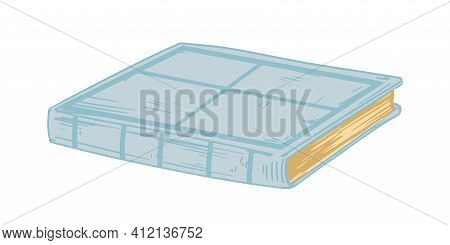 Close Old Book Lying. Ancient Academic Textbook With Hardcover Isolated On White Background. Antique