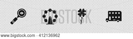Set Magnifying Glass, London Eye, Four Leaf Clover And Double Decker Bus Icon. Vector