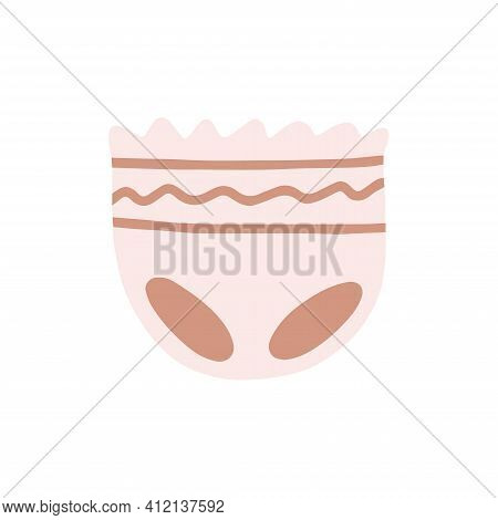 Hand Drawn Diapers, Panties For Children Isolated On A White Background. Illustration In A Simple Fl