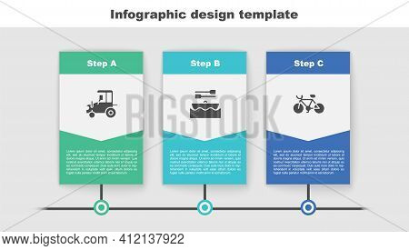 Set Tractor, Boat With Oars And Bicycle. Business Infographic Template. Vector