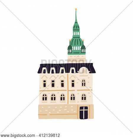Old Town Hall In Brno. Ancient Czech Building. European Medieval Architecture. Colored Flat Vector I