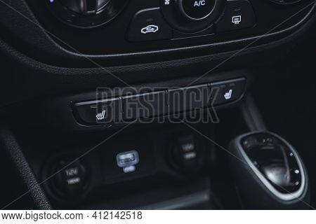 Novosibirsk, Russia - March 2 2021: Hyundai Solaris,close Up Shot Of Car Seat Heating Control Panel