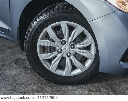 Novosibirsk, Russia - March 2 2021: Hyundai Solaris, Close-up Car Wheel With Aluminum Alloy Wheel