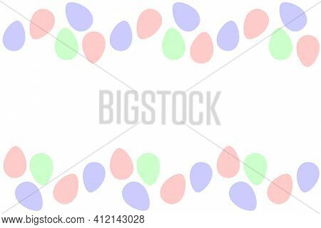 Seamless Easter Frame With Ornamental Eggs. Vector Pastel Multicolor Holiday Backdrop. Horizontal To
