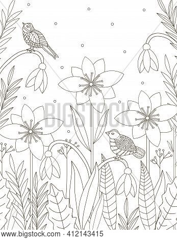 Flowers And Birds Coloring Page. Floral Coloring. Adult Coloring. Vector Illustration.