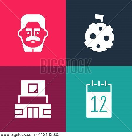 Set Pop Art Calendar 12 June, Mausoleum Of Lenin, Moon With Flag And Joseph Stalin Icon. Vector