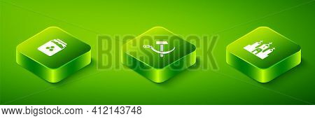 Set Isometric Hammer And Sickle Ussr, Church Building And Jar Of Honey Icon. Vector