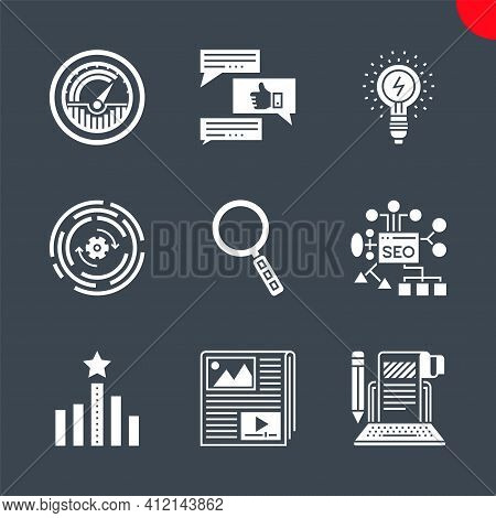 Seo Related Vector Glyph Icons Set. Isolated On Black Background. Seo Planing, Article Submission, T