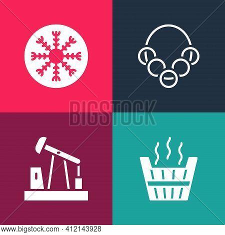 Set Pop Art Sauna Bucket, Oil Pump Or Pump Jack, Russian Bagels And Snowflake Icon. Vector