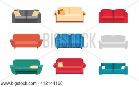 Big Collection Sofa Icons. Set Different Sofas For Interior Of House.