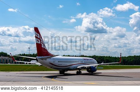 July 2, 2019, Moscow, Russia. Airplane Boeing 737-800 Airzena Georgian Airways At Vnukovo Airport In