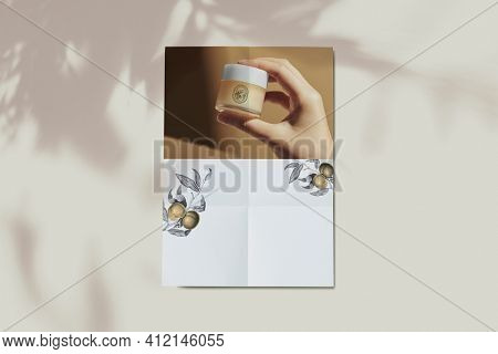 Unfolded organic skin care poster with design space cosmetic brand ad