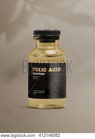 Folic acid injection glass bottle with a luxurious label for health and wellness product packaging