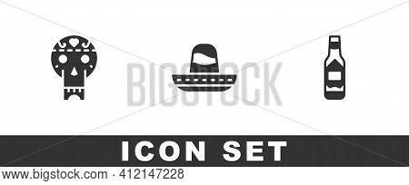 Set Mexican Skull, Sombrero And Tabasco Sauce Icon. Vector