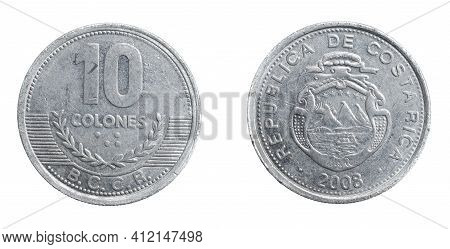Costa Rica Ten Colones Coin On A White Isolated Background