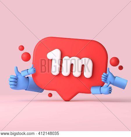 1 Million Followers Social Media Banner Thumbs Up. 3d Rendering