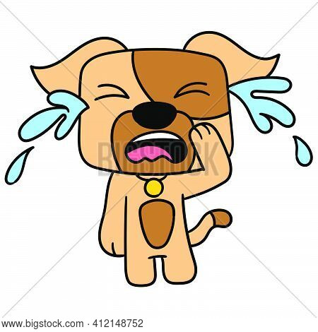 The Puppy Cries Sadly Doodle Kawaii. Doodle Icon Image. Cartoon Caharacter Cute Doodle Draw
