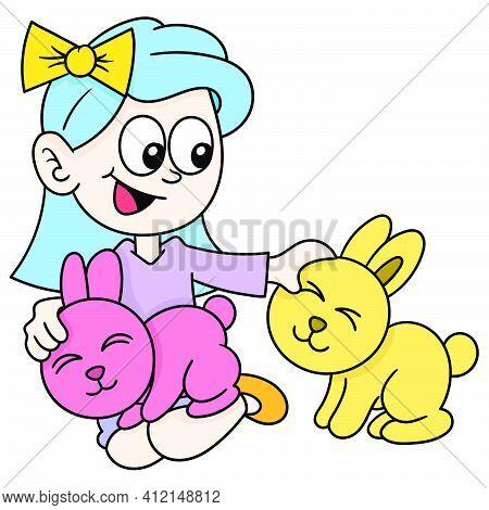 A Teenage Girl Raising A Cute Rabbit, Doodle Kawaii. Doodle Icon Image. Cartoon Caharacter Cute Dood