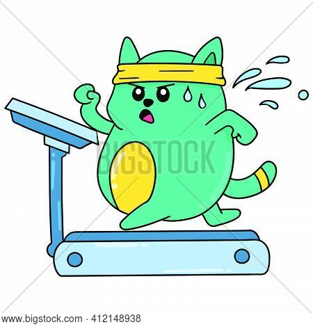 Fat Cat Is Exercising To Get In Shape Doodle Kawaii. Doodle Icon Image. Cartoon Caharacter Cute Dood