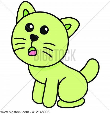 The Expression Of The Kitten Begging For Food Doodle Kawaii. Doodle Icon Image. Cartoon Caharacter C