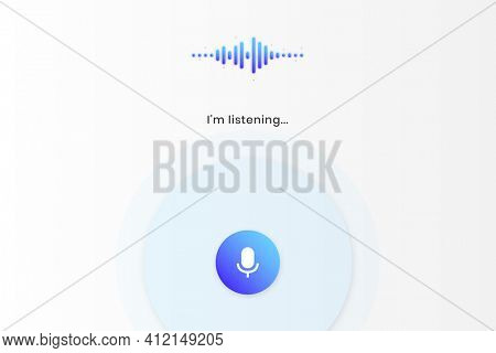 Virtual assistant sound waves  tablet screen template