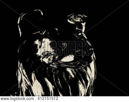 Silver Figurine Of A Wolf, Iron Figurine