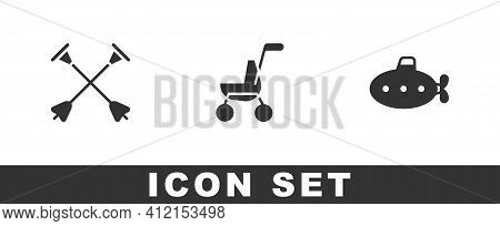 Set Arrow With Sucker Tip, Baby Stroller And Submarine Toy Icon. Vector