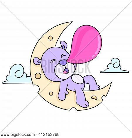 The Bear Sleeps At Night On The Moon, Doodle Kawaii. Doodle Icon Image. Cartoon Caharacter Cute Dood