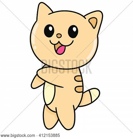 Cute Cat Standing Smiling Happy, Doodle Kawaii. Doodle Icon Image. Cartoon Caharacter Cute Doodle Dr