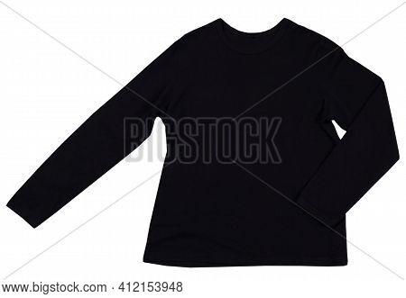 Black Sweatshirt Isolated On White Background Copy Space