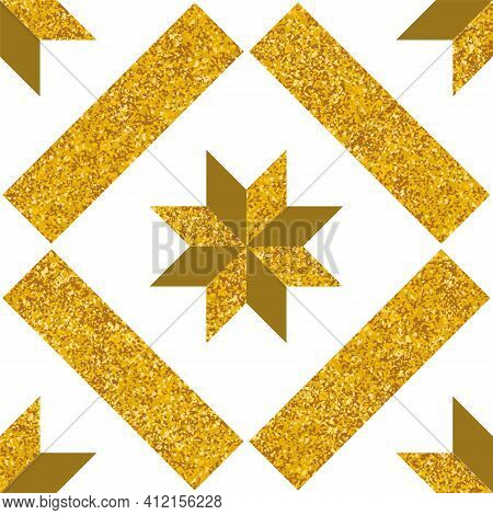 Tile Decorative Floor Tiles Vector Pattern Or Seamless White And Gold Background
