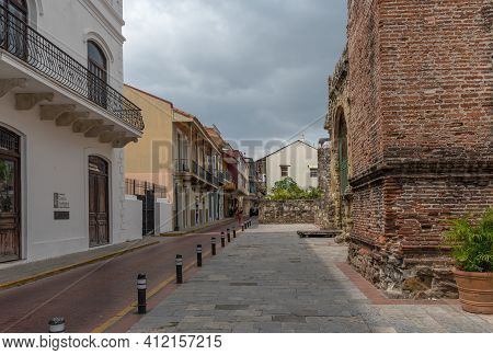 Building Facades In The Historic Old Town, Casco Viejo, Panama City