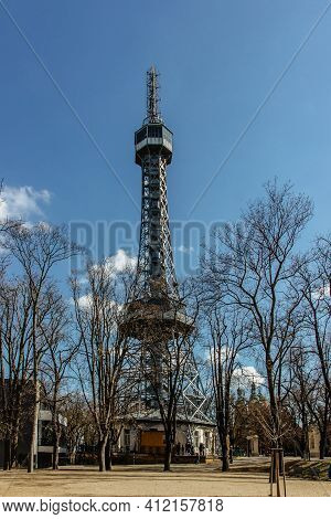 Petrin Lookout Tower, Prague, Czech Republic.steel Tower 63.5 Metres Tall On Petrin Hill Built In 18