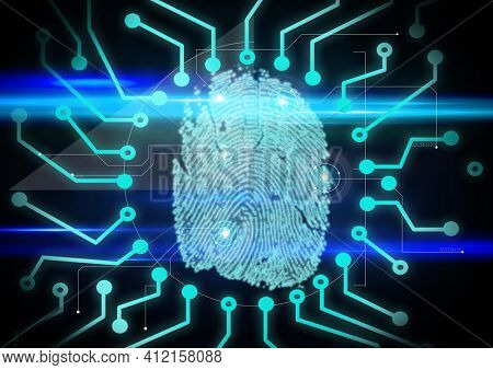 Fingerprint biometric scanner against microprocessor connections on blue background. cyber security and futuristic technology concept