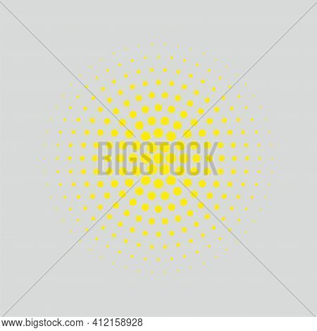 Vector Illustration Background Of Halftone Design. Divergent Circles. Drawing Attention To The Cente