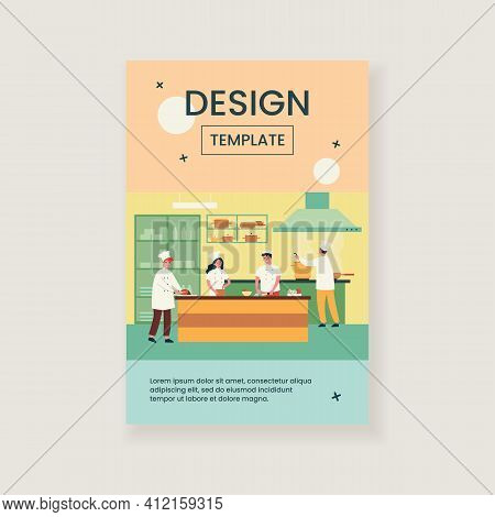 Professional Cooking Kitchen Interior Isolated Flat Vector Illustration. Cartoon Restaurant Chefs An