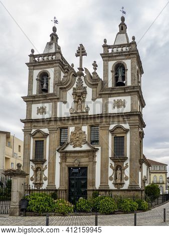 Vila Real, Portugal; August 2020 : St. Peter's Church Of Vila Real, Portugal. Vila Real Is The Most