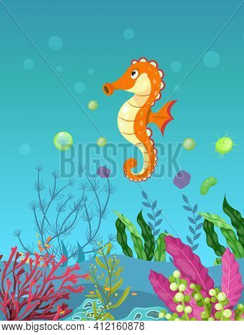 Sea Underwater Marine Background With Seahorse. Marine Sea Bottom With Aqua Plants, Coral Reef Under