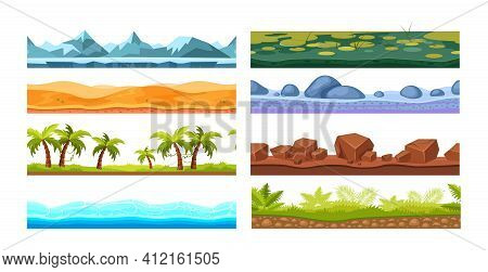 Tropics With Palm Trees, Sea Water, Desert, Ice Mountain Cover, Rocky Surface, Land With Marshy Surf