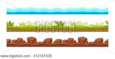 Landscape Grounds Seamless. Water With Waves, Nature Soil Layers With Rocks, Grass With Tropical Veg
