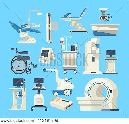 Hospital Medical Diagnostic Equipment. Medical Devices, Health System, Monitoring. Tomograph, Scanne