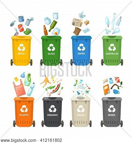 Trash In Garbage Cans With Sorted Garbage For Organic, Paper, Plastic, Glass, Metal, Drugs, Light Bu
