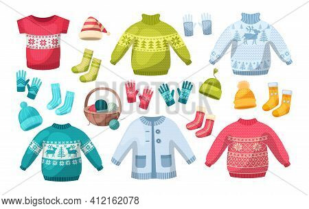 Cute Knitted Warm Winter Clothing. Wool Knitting Winter Clothes Hats, Mittens, Christmas Sweaters Wi
